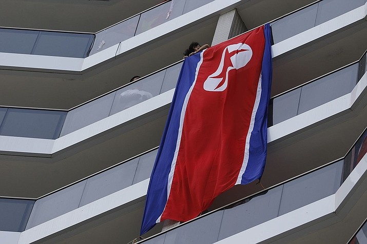 A North Korean flag at the Rio 2016 Olympic Village. (Brazilian news agency Agência Brasil/CC 3.0 https://goo.gl/LgUQKs)