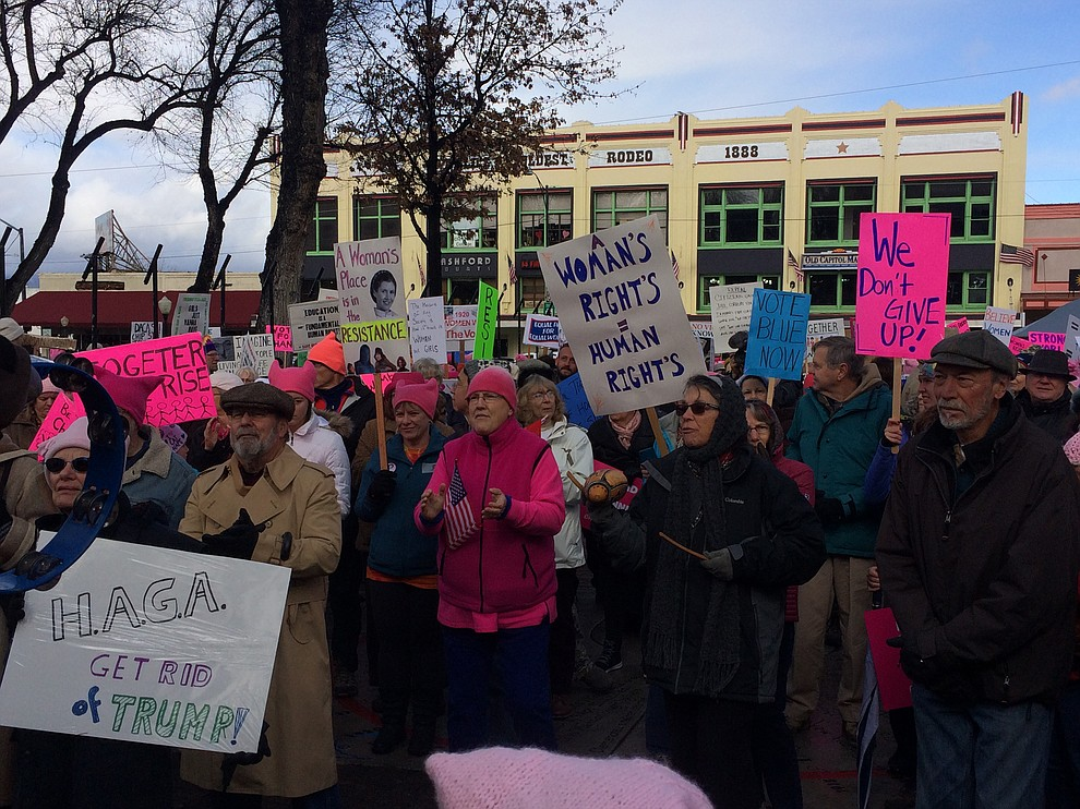 More than 1,100 participated in the second Women's March on Prescott, marching around the Yavapai County courthouse on Saturday, Jan. 20. (Jason Wheeler/The Daily Courier)