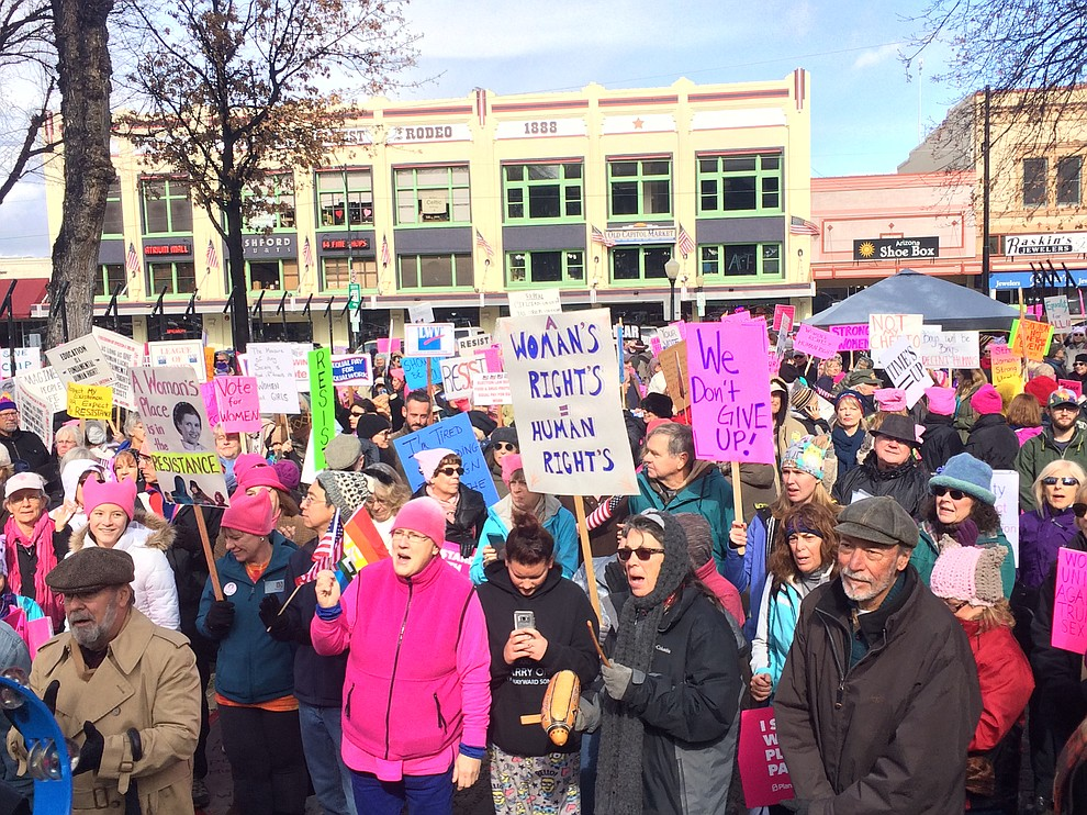 More than 1,100 participated in the second Women's March on Prescott, marching around the Yavapai County courthouse on Saturday, Jan. 20, 2018. (Jason Wheeler/Courier)