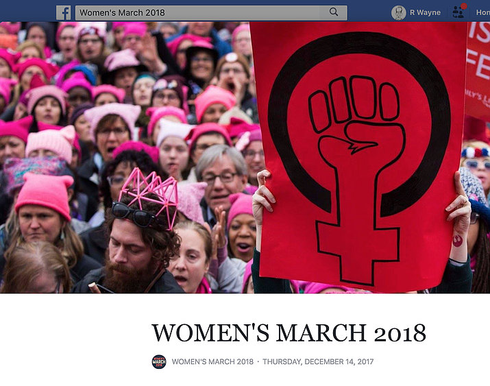 Screenshot of the Women's March 2018 USA Facebook page.