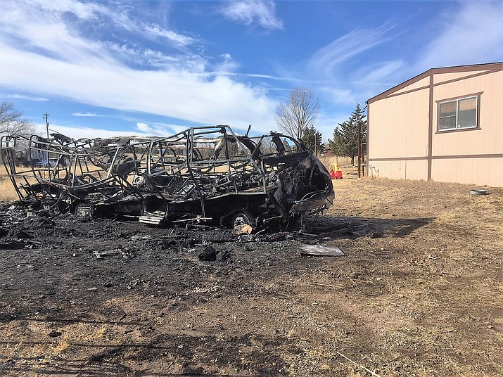 A man died early Monday morning when a fire burned a motor home in Chino Valley. (YCSO)