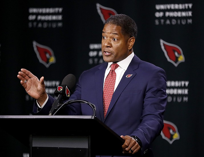 New Arizona Cardinals NFL football head coach Steve Wilks speaks, Tuesday, Jan. 23, 2018, after being introduced at the teams' training facility in Tempe. (Matt York/AP)