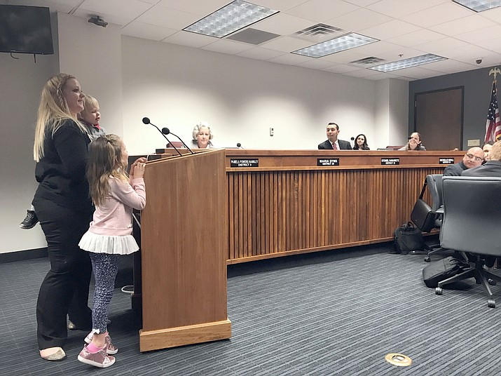 Clancie Kazee brought her children with her to tell Arizona legislators why the House Health Committee should support HB2127 to protect KidsCare funds.