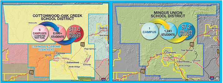 A consolidated Mingus Union and Cottonwood-Oak Creek school district would take on the boundaries of the existing Cottonwood-Oak Creek District, leaving Clarkdale-Jerome as its own independent district, and would eliminate the layered dual taxation for schools that currently exists in the Upper Verde Valley. VVN graphic by Chris Myers
