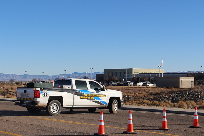Kingman Police Department had blocked off Prospector Street Tuesday in front of Desert Willow School following a bomb threat Tuesday morning. Students were diverted to White Cliffs Middle School while the school was searched by bomb-sniffing dogs. Police determined there was no bomb at the school.