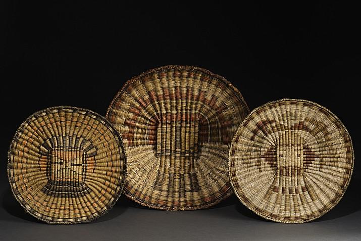 Wicker plaques from Third Mesa; rabbitbrush, dune broom, yucca. From left: Hiilili katsina, ca. 1935 Si'ohemiskatsina (Zuni Hemis katsina), ca. 1910 Sa'lakwmana (Shalako maiden katsina), ca. 1905.