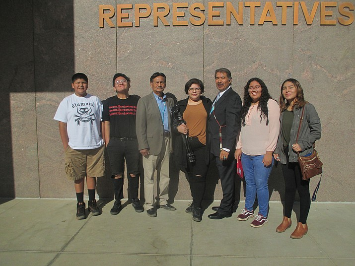 Hopi High media students with dignitaries. From left: Ty Lilly, Gabe Fredericks, Navajo County Supervisor Jesse Thompson, Hailey Kardell, former State Sen. Albert Hale, Kelly Johnson and Ellyse Fredericks.