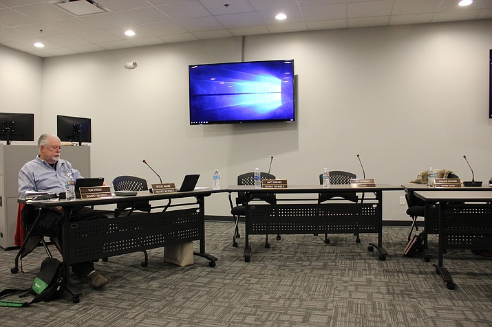 Central Yavapai Fire District board member Tom Steele sits by himself in the Central Yavapai Fire and Medical Authority's conference room. Steele excused himself from the board's executive session meeting because he was not permitted to record the conversation on his own personal recording device.