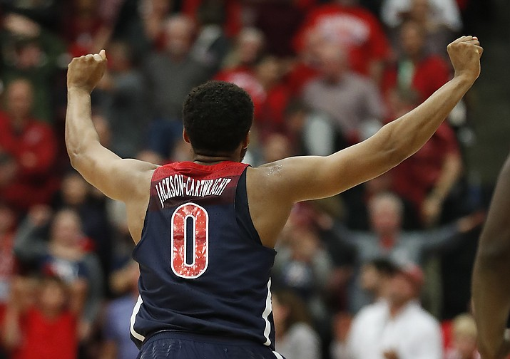 Arizona guard Parker Jackson-Cartwright (0) celebrates after a  victory against Stanford on Saturday, Jan. 20, 2018, in Stanford, Calif. (Tony Avelar/AP, File)
