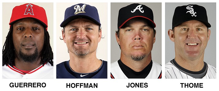 Chipper Jones, Jim Thome, Vladimir Guerrero and Trevor Hoffman were elected to the baseball Hall of Fame on Wednesday, Jan. 24, 2018. (AP Photo)