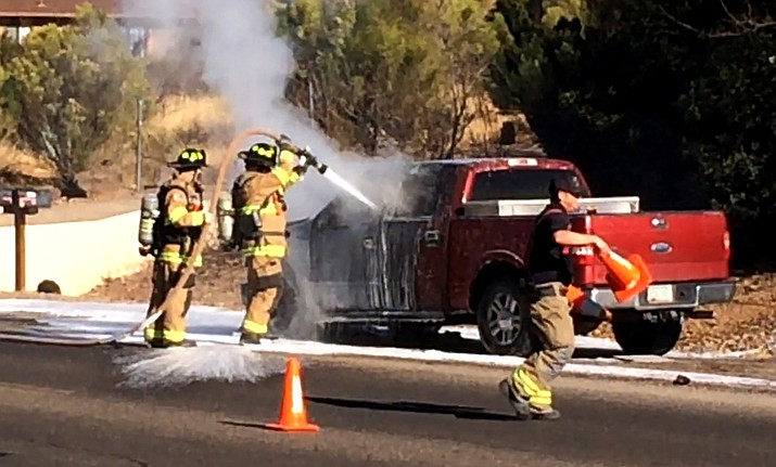 """The Verde Valley Fire District responded to a motor vehicle accident on Western Drive near Mountain View Drive on Tuesday, according to VVFD press release. VVFD was also dispatched to a pickup truck on fire. On arrival crews found a truck on the side of the road with fire coming from the engine compartment. The driver was out of the vehicle and a safe distance away, the fire department stated. The crew quickly extinguished the fire and assisted the driver with removing his tools from the back of the truck, the department added. No injuries were reported, the release said. The VVFD wanted to remind motorists that the fire in the engine compartment can grow rapidly if a fuel line ruptures. """"It is recommended to get everyone out of the vehicle immediately and move a safe distance away,"""" according to the VVFD. VVN/Vyto Starinskas"""