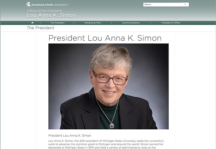 Michigan State University President Lou Anna K. Simon (Screengrab of msu.edu website)