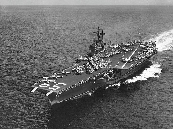 The U.S. Navy aircraft carrier USS Forrestal (CVA-59) underway at sea. The Forrestal served for nearly four decades in the Atlantic, Mediterranean, and Pacific. (U.S. Navy photograph)