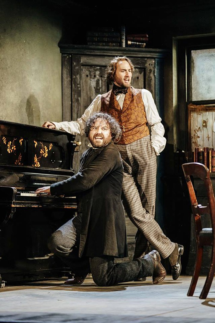"Rory Kinnear is Karl Marx and Oliver Chris is Friedrich Engels in the National Theater Live's broadcast of ""Young Marx."" (Manuel Harlan/National Theater Live)"
