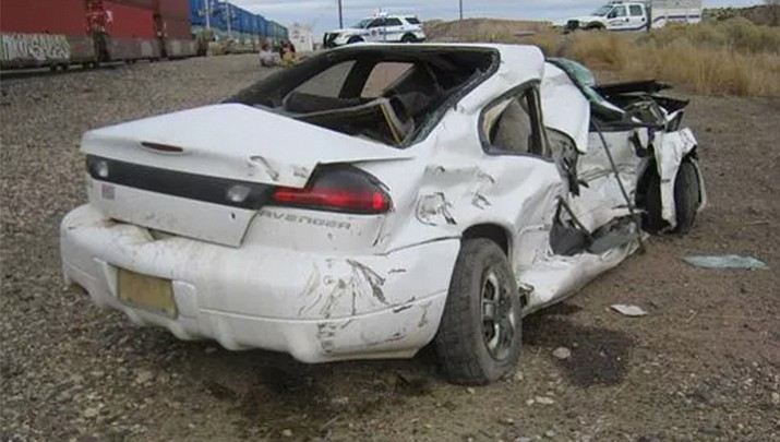 The vehicle after getting hit by a train. (Arizona Department of Public Safety)