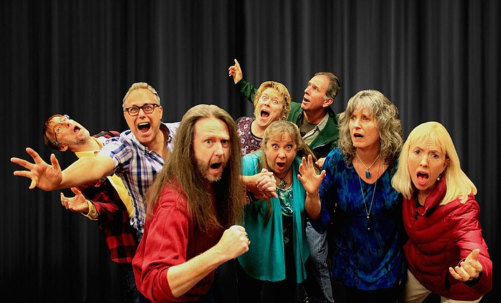 """Wdya'Got"" Music/Spoken Word Performances and Improv will entertain Feb. 1 at the Sedona Hub. Front row, from left: Shaunn Cochran, Mary Carder, Shaeri Richards and Linda Roemer. Back row, from left: Chris Redish, Derek Dujardin, Betty Testa, and Tom Shoemaker. (Photo courtesy of Zenprov)"