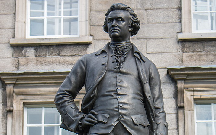 The statue of Edmund Burke on the campus of Trinity College in Ireland, where Burke was a student in the 1700s. He is recognized as the father of conservative thought, but his ideas were quite radical in their time. (Stock)