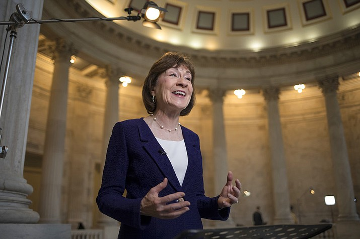 """In this Jan. 23, 2018, file photo, Sen. Susan Collins, R-Maine, speaks during a TV news interview on Capitol Hill in Washington. Collins on Sunday, Jan. 28, said President Donald Trump would be """"best served"""" by keeping a public silence on an independent investigation into his 2016 campaign's contacts with Russia in the wake of news reports of attempted presidential interference and urged special counsel Robert Mueller to review whether Trump tried to fire him. (AP Photo/J. Scott Applewhite, File)"""