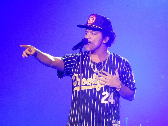 Bruno Mars performing live during his 24K Magic World Tour.