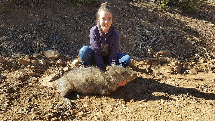 Kaitlyn Whittington shows the javelina she bagged on her recent hunt in Unit 18A.