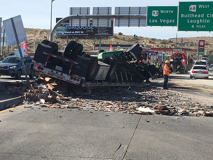A truck overturned at Beale Street and Interstate 40 Monday afternoon