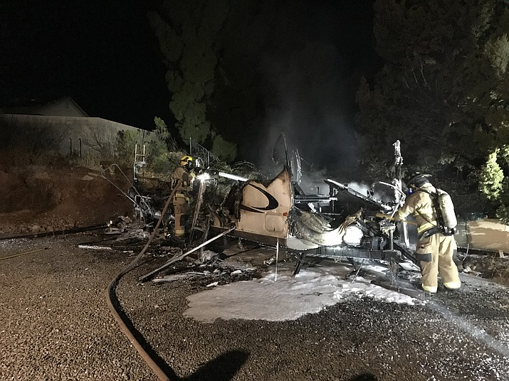 A space heater is believed to have caused a fully involved RV fire in the Verde Villages early Sunday. There were no injuries. (Photos courtesy of VVFD)