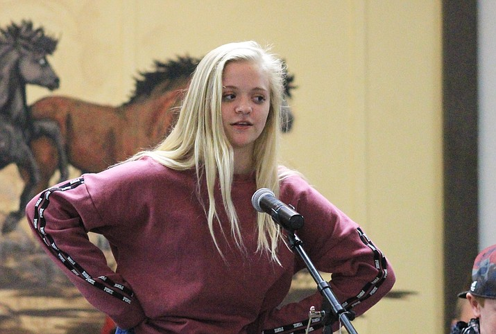 An eighth grader at Maine Consolidated School competes in the school's spelling bee.