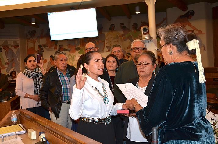 JoAnn Jayne is sworn in as probationary Navajo Nation Chief Justice Jan. 24.