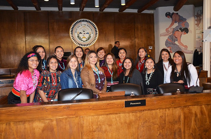 UFC Women's Flyweight Champion Nicco Montano with the St. Michaels High School volleyball team, the current Arizona 1A State Volleyball Team Champions at the Navajo Nation Council Chamber Jan. 22.