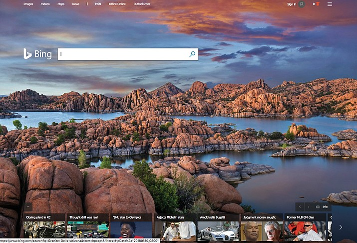 The search engine Bing featured Watson Lake and the Granite Dells on its home page on Tuesday, Jan. 30, 2018. (Courier screen grab)
