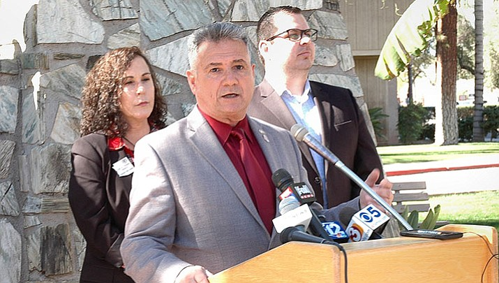 Sen. Sonny Borrelli details legislation Monday which will require testing of medical marijuana and lower the fees being charged to patients. With him are Democratic Reps. Lisa Otondo of Yuma and Mark Cardenas of Phoenix who are among other lawmakers supporting the measure.