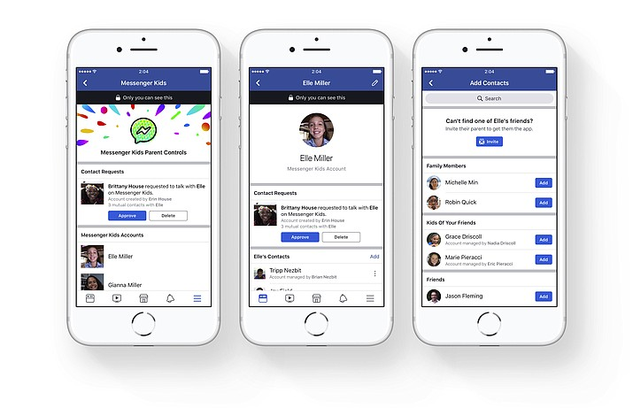 FILE - This file photo provided by Facebook demonstrates parental controls on Facebook's new Messenger app for kids. Child development experts and advocates are urging Facebook to pull the plug on its new messaging app aimed at kids under 13. A group letter being sent Tuesday, Jan. 30, 2018, to CEO Mark Zuckerberg argues that younger children aren't ready to have social media accounts, understand privacy concerns and navigate the complexities of online relationships. (Courtesy of Facebook)