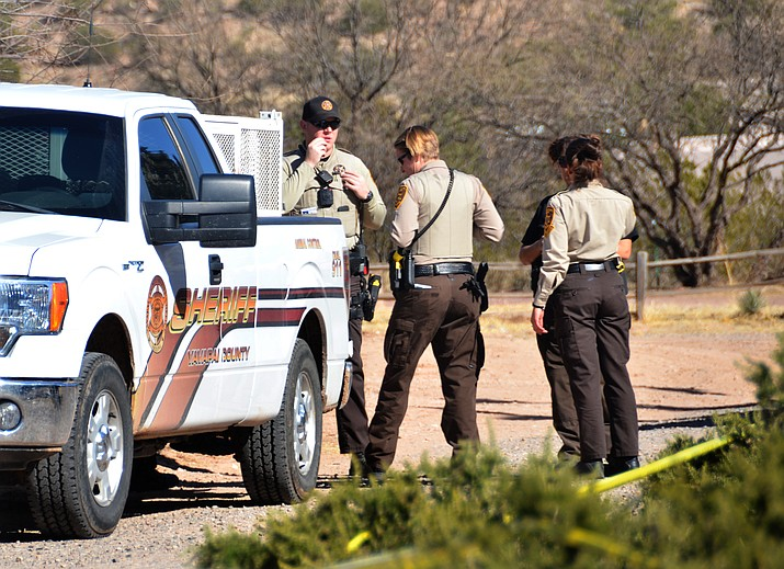 Area agencies respond to the 4100 block of Passage Lane in Rimrock after a deceased man and woman were found inside a home Tuesday afternoon. (VVN/Vyto Starinskas)