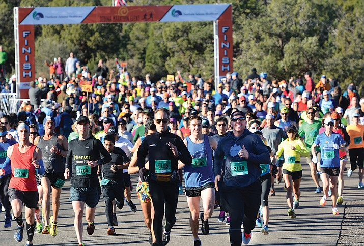 Runners start the 2017 Sedona Marathon. This year organizers are expecting 3,300 athletes for the event's 13th running.  (VVN/Vyto Starinskas)