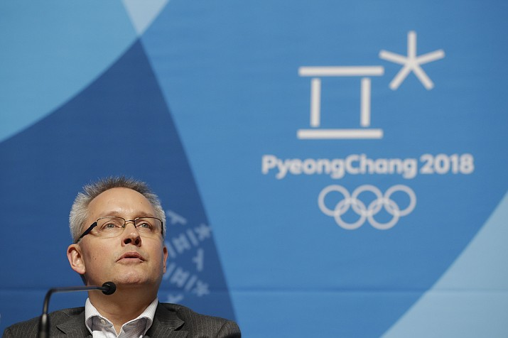 Matthieu Reeb, CAS Secretary General, speaks during a press conference about Russian athletes who are challenging the decisions taken by the Disciplinary Commission of the International Olympic Committee (IOC DC) ahead of the 2018 Winter Olympics in Pyeongchang, South Korea, Thursday, Feb. 1, 2018. (Felipe Dana/AP)