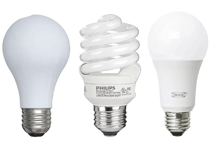 Not all light bulbs are created equally. The ever-popular incandescent light bulbs, left, are being replaced with CFLs (compact fluorescent bulbs), middle, and now LEDs (light-emitting diodes), right. (Courtesy photos)