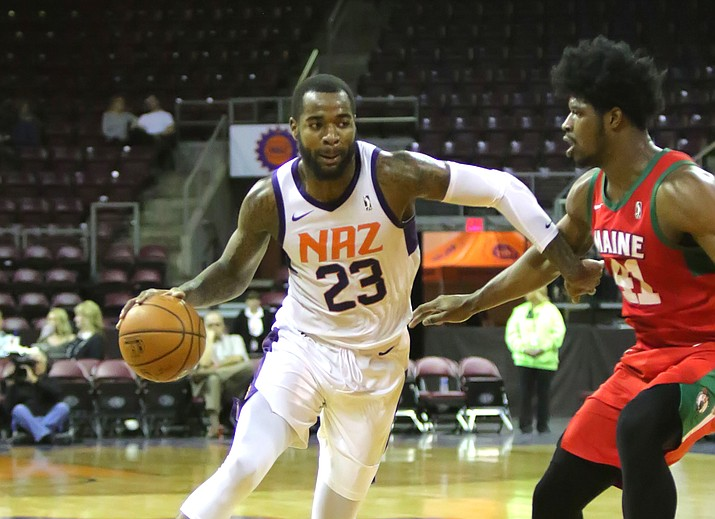 Northern Arizona's Mike Young (23) goes to the basket as the Suns host the Maine Red Claws on Friday, Feb. 2, 2018, in Prescott Valley. Young scored a team-record 41 points in a 123-112 victory. (Matt Hinshaw/NAZ Suns)