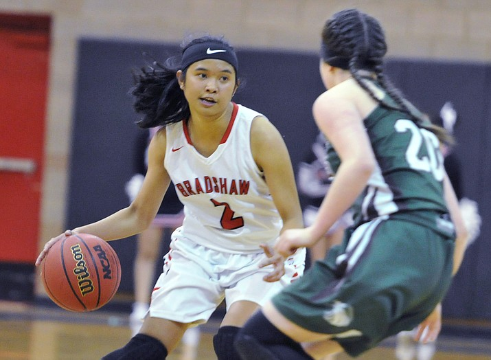 Bradshaw Mountain's Jesycca Cambalon dribbles at the top of the key against Flagstaff on Jan. 16, 2018, in Prescott Valley. The Bears struggled against No. 1-ranked Seton Catholic in an 80-20 loss Friday, Feb. 2, 2018, in Phoenix. (Les Stukenberg/Courier, File)