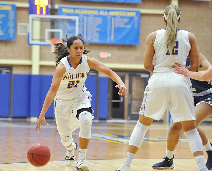 Embry-Riddle's Jazlyn Malentino drives past a screen as the Eagles hosted California Maritime Academy in Prescott Thursday evening, Feb. 1. (Les Stukenberg/Courier, file)