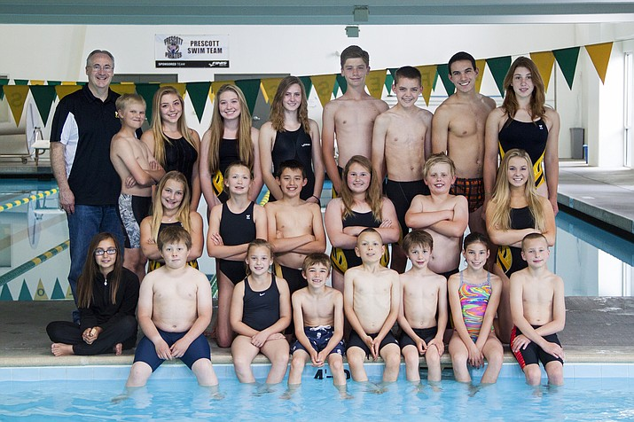 The Prescott Swim Team poses for a photo after participating in the annual Prescott Plunge during Martin Luther King Day weekend. (Prescott Swim Team/Courtesy)