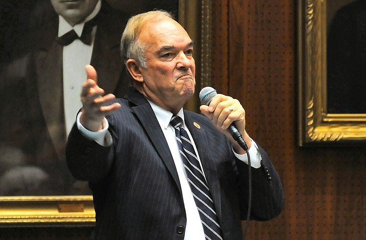 "Rep. Don Shooter tells his Arizona legislative colleagues Thursday that while he has ""done stupid things"" in the past that they should allow him to remain a member of the House. They did not agree, voting 56-3 for expulsion. (Capitol Media Services/Howard Fischer)"