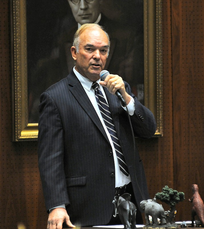 "Rep. Don Shooter tells colleagues Thursday that while he has ""done stupid things"" in the past that they should allow him to remain a member of the House. They did not agree, voting 56-3 for expulsion. (Capitol Media Services photo by Howard Fischer)"
