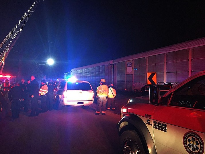 Emergency responders work at the scene of a crash between an Amtrak passenger train and a CSX freight train Sunday, Feb. 4, 2018 in Cayce, S.C. The crash left multiple people dead and dozens of people injured. (Lexington County Sheriff's Department)
