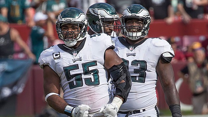 Brandon Graham (55) delivered one of the few defensive highlights in the most prolific offensive game in NFL history, ripping the ball out of Tom Brady's hands for a fumble that gave the Philadelphia Eagles their first Super Bowl title in franchise history.