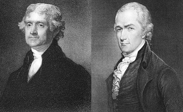Thomas Jefferson (left) and Alexander Hamilton were the leaders of the first two political parties in the United States. The main disagreement between the parties at that time was a powerful central government (favored by Hamilton and his Federalists) or protecting state's rights (favored by Jefferson and his Democratic-Republicans). (Stock)