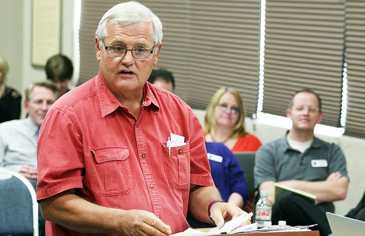 In March 2017, Phil Terbell tells the Cottonwood-Oak Creek School Board that he would like to see the school district consolidate and unify with the Mingus Union school district. (Photo by Bill Helm)