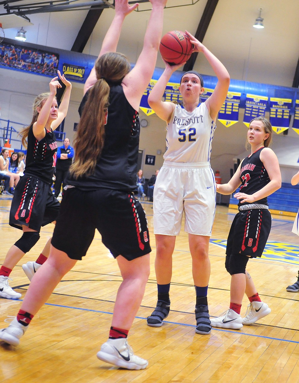 Prescott's Mary Hald takes a shot from the paint as the Badgers hosted crosstown rival Bradshaw Mountain for the season finale Tuesday night.  (Les Stukenberg/Courier)