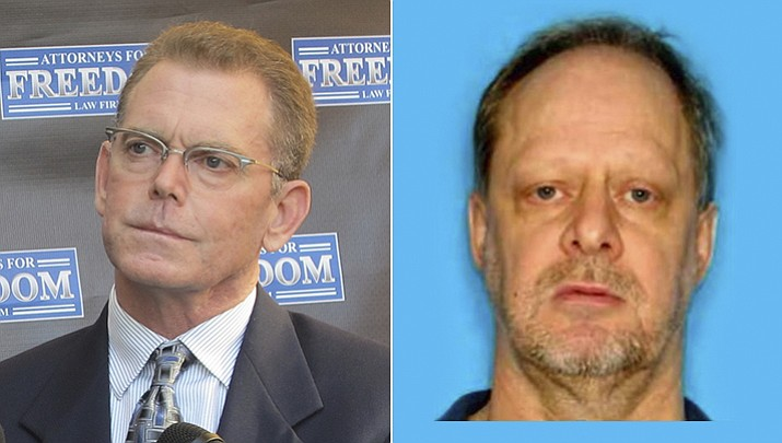 According to a criminal complaint filed in federal court in Phoenix, Douglas Haig (left) sold armor-piercing ammunition to the Las Vegas gunman Stephen Paddock (right). The complaint says Haig didn't have a license to manufacture armor-piercing ammunition. (AP and file photos)