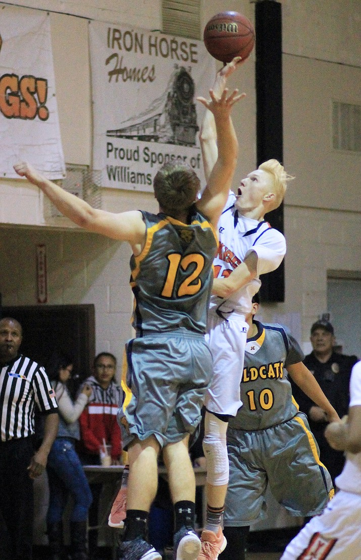 Viking Payce Mortensen lays up a shot in an earlier season game. Mortensen made 41 points Feb. 1 in a game against Mogollon.