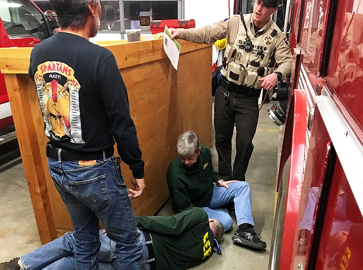 Coconino County Sheriff's deputies and Williams Fire Department volunteers conduct CERT scenario training in Williams Jan. 8. CERT training is conducted the second Monday of each month in Williams.